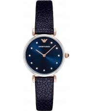 Emporio Armani AR1989 Dames jurk blauw lederen band horloge