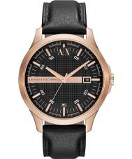 Armani Exchange AX2129 Mannen rose goud zwarte lederen band jurk horloge