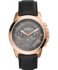 Fossil FS5085 Mens verlenen zwarte chronograaf horloge