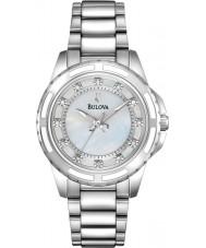 Bulova 96S144 Ladies diamanten zilveren stalen armband horloge