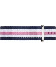 Daniel Wellington DW00200050 Dames klassieke Southampton 36mm zilver blauw wit en roze nylon reserveonderdelen riem