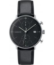 Junghans 027-4601-00 Max Bill Black chronoscoop automatisch horloge