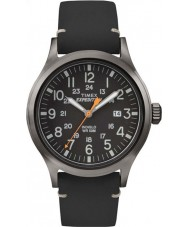 Timex TW4B01900 Mens expeditie analoge verhoogde zwart lederen band horloge