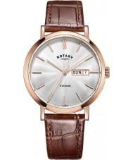 Rotary GS05304-02 Mens uurwerken Windsor rose goud verguld bruine lederen band horloge