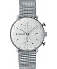 Junghans 027-4003-44 Max Bill zilveren chronoscoop automatisch horloge
