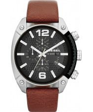 Diesel DZ4296 Mens overflow chronograaf bruin lederen band horloge