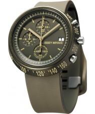 Issey Miyake AZ008 Mens trapezium bruin siliconen chronograafhorloge
