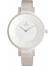 Obaku V158LECIMC Ladies stenen set mager zilverkleurige mesh armband horloge