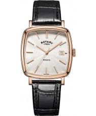 Rotary GS05309-01 Mens uurwerken Windsor rose goud verguld zwart lederen band horloge