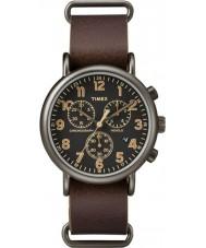 Timex TW2P85400 Weekender bruin lederen chronograaf