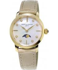 Frederique Constant FC-206MPWD1S5 Ladies slimline maanstand beige lederen band horloge