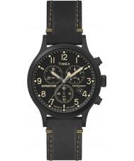 Timex TW4B09100 Mens expeditie zwart lederen band horloge