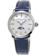 Frederique Constant FC-206MPWD1S6 Ladies slimline maanstand blauwe lederen band horloge