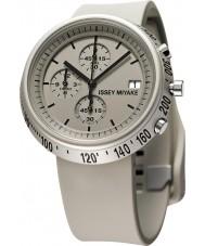 Issey Miyake AZ005 Mens trapezium beige siliconen chronograafhorloge