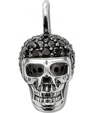 Thomas Sabo PE480-051-11 Mens zwarte zirconia pave skull hanger