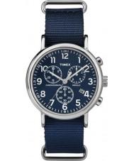 Timex TW2P71300 Weekender slip thru blauwe chrono horloge