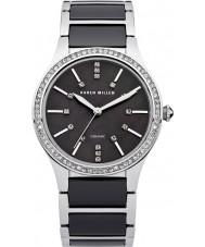 Karen Millen KM122BM Dames staal en zwarte keramische armband horloge