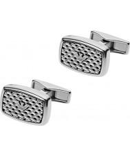 Emporio Armani EGS2144040 Mens tonneau mesh zilver staal manchetknopen