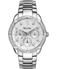 Bulova 96R195 Ladies diamanten zilveren stalen armband chronograaf