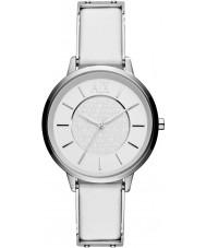 Armani Exchange AX5300 Ladies witte lederen band jurk horloge