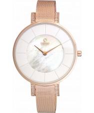 Obaku V158LEVWMV Ladies steen set rose goud verguld mesh armband horloge