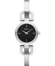 DKNY NY8541 Ladies Reade zwarte zilveren horloge