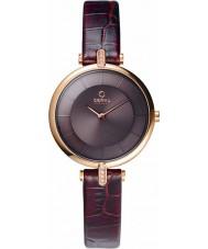 Obaku V168LEVNRN Ladies rose goud verguld stenen set bruine lederen band horloge