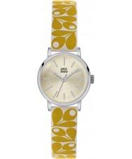Orla Kiely OK2037 Ladies patricia eikel afdruk gele crème lederen band horloge