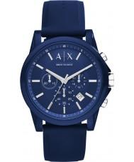 Armani Exchange AX1327 Sport blauw siliconen chronograafhorloge