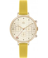 Orla Kiely OK2038 Ladies ivy gold chronograaf gele lederen band horloge