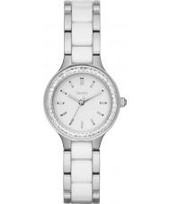 DKNY NY2494 Ladies Chambers witte keramische koppelingen stalen horloge
