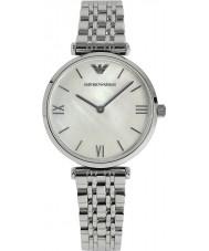 Emporio Armani AR1682 Dames parel en zilveren jurk horloge