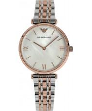 Emporio Armani AR1683 Dames parel en rose gouden jurk horloge