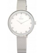 Obaku V161LXCIMC Ladies stenen set zilverkleurige mesh armband horloge