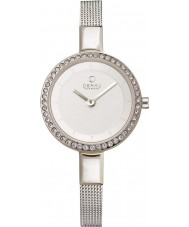 Obaku V129LECIMC Ladies stenen set zilver toon mager mesh armband horloge