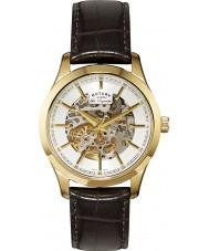 Rotary GS90526-06 Mens les originales automatische skelet gouden bruin horloge