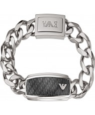Emporio Armani EGS1688040 Mens handtekening carbon staal zilver id armband