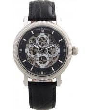 Krug Baümen 60211DM Mens majestueuze zwarte lederen band horloge