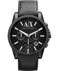 Armani Exchange AX2098 Heren zwart lederen band chronograaf jurk horloge