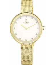 Obaku V161LXGIMG Ladies steen set vergulde maas armband horloge