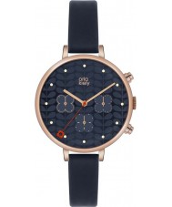 Orla Kiely OK2042 Ladies klimop chronograaf marine lederen band horloge