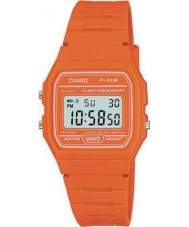 Casio F-91WC-4A2EF Mens retro collectie oranje chronograaf