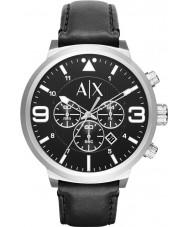 Armani Exchange AX1371 Heren stedelijke zwart lederen band chronograafhorloge