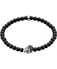 Thomas Sabo A1270-159-11-L19 Heren obsidiaanse armband met zwarte zirkonia schedel