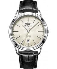Rotary GS90161-32 Mens les originales traditie automatische staal zwart lederen band horloge