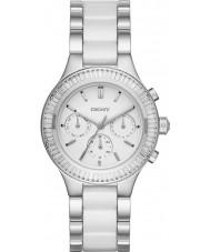 DKNY NY2497 Ladies kamers chronograaf witte keramische koppelingen stalen horloge