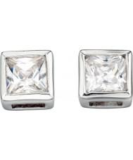 Charles Conrad E2932C Dames vierkante duidelijke cz zilveren oorknopjes