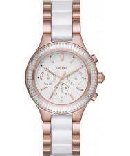 DKNY NY2498 Ladies kamers chronograaf wit keramiek schakels rose gouden horloge