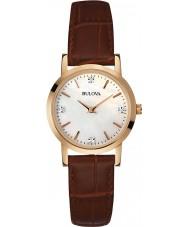 Bulova 97P105 Ladies diamant bruin lederen band horloge