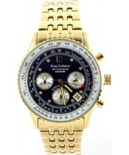 Krug-Baumen 400104DS Luchtreiziger diamant blauwe gouden wijzerplaat vergulde band